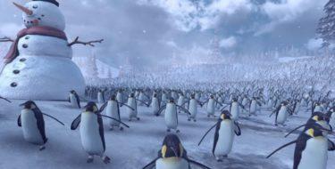 сражение Санта-Клаусов и пингвинов