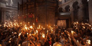 В иерусалимском храме сошел Благодатный огонь