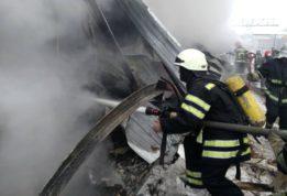 Пожар на заводе в Киеве