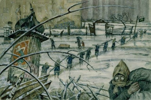 Мстислав Добужинский. Из жизни Петрограда в 1920 году